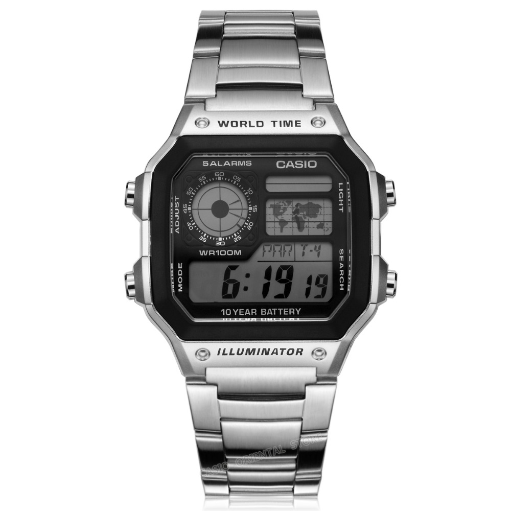 Casio Watches top brand luxury Men Sports AE-1200WHD-1A digital Waterproof Complete Calendar Alarm stainless steel band Relogio