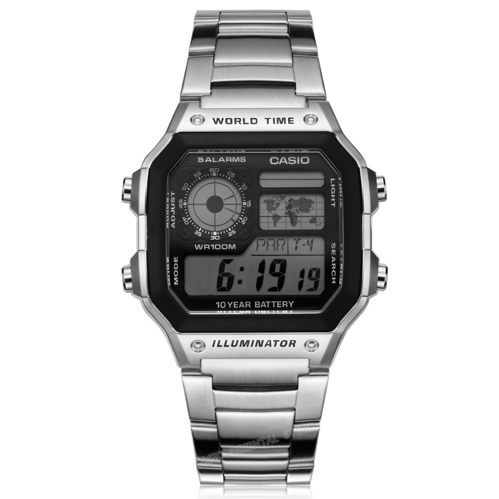 €38.38 50% de DESCUENTO Casio top brand hombres de lujo deportes ae 1200whd 1a digital impermeable de los relojes del relogio banda de acero