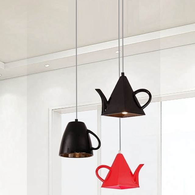 kitchen lamp small kitchens ideas lukloy modern resin teapot tea cup pendant light hanglamp hanging fixture for dining room decoration
