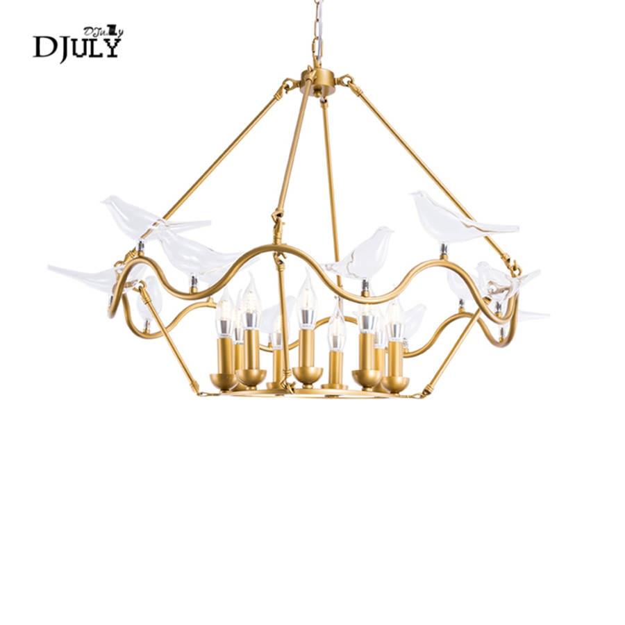 American luxury glass bird chandelier lighting for children bedroom living room villa home deco hanging fixtures led luminaire