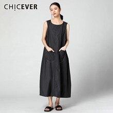 CHICEVER الصيف فستان المرأة الصلبة عادية س الرقبة أكمام تانك جيوب فضفاضة حجم كبير منتصف العجل ألف خط فساتين 2020 موضة جديدة