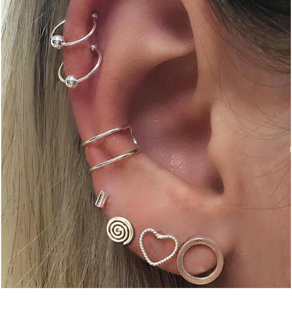 7PCS/Set  Vintage  Stud Earrings Ear clip Set Women Lovely Charms Collection Heart-shaped Circles Jewelry
