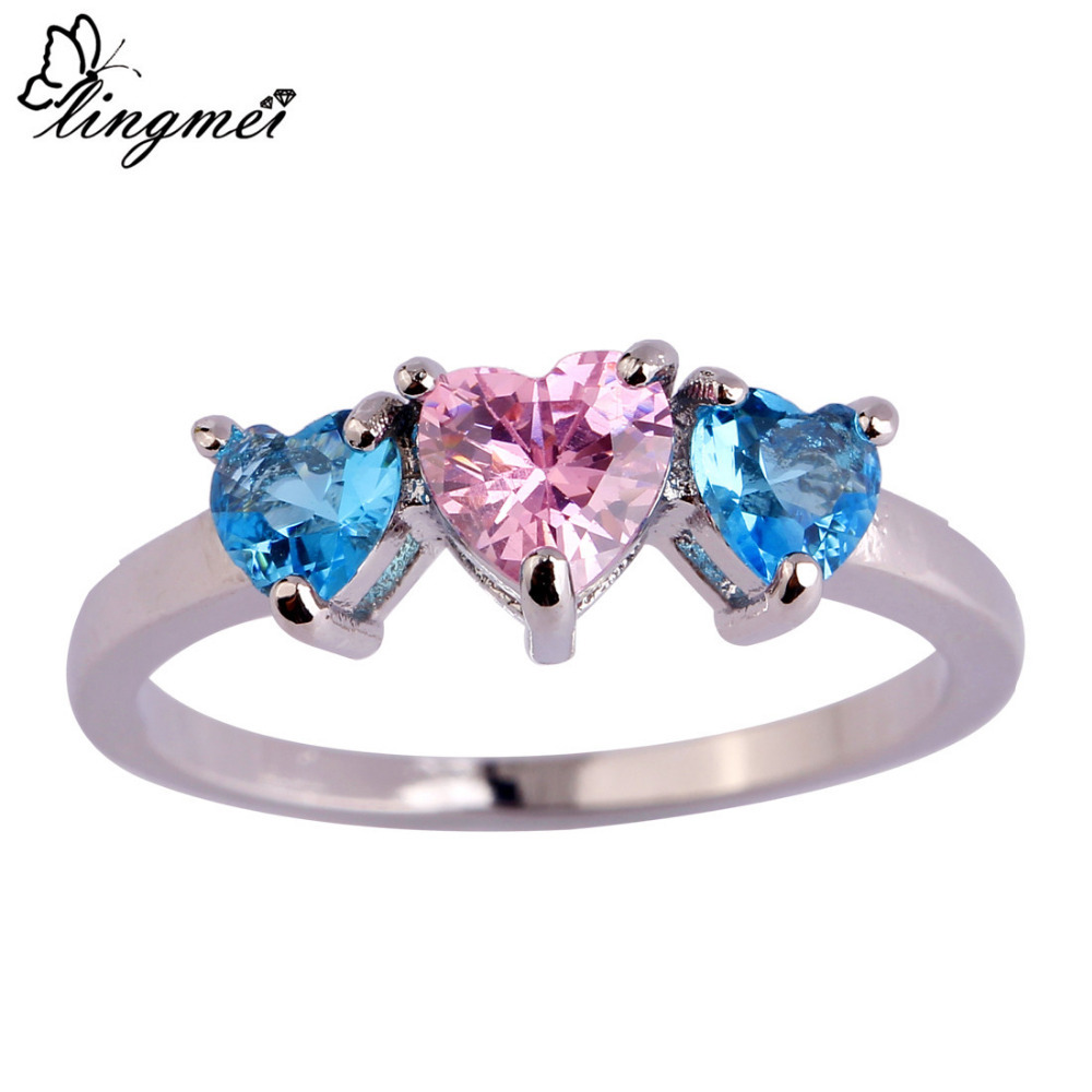 lingmei Wholesale New Fashion Love London Blue & Pink CZ Silver Color Ring Size 6 7 8 9 10 11 Nice Jewelry For Women Gift