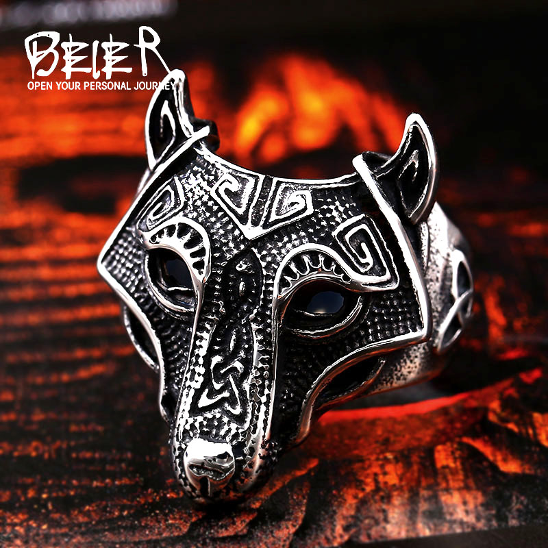 Beier Norse Viking Nordic Wolf Animal Thor Hammer Man Drop shipping wholesale Ring Fashion Punk Rock hot sale Jewelry BR8-534