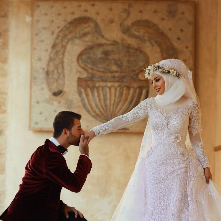 2016 Long Sleeves Lace Muslim Mermaid Wedding Dresses Arabic Islamic Hijab Dress High Neck Bridal Gowns Appliques In From Weddings
