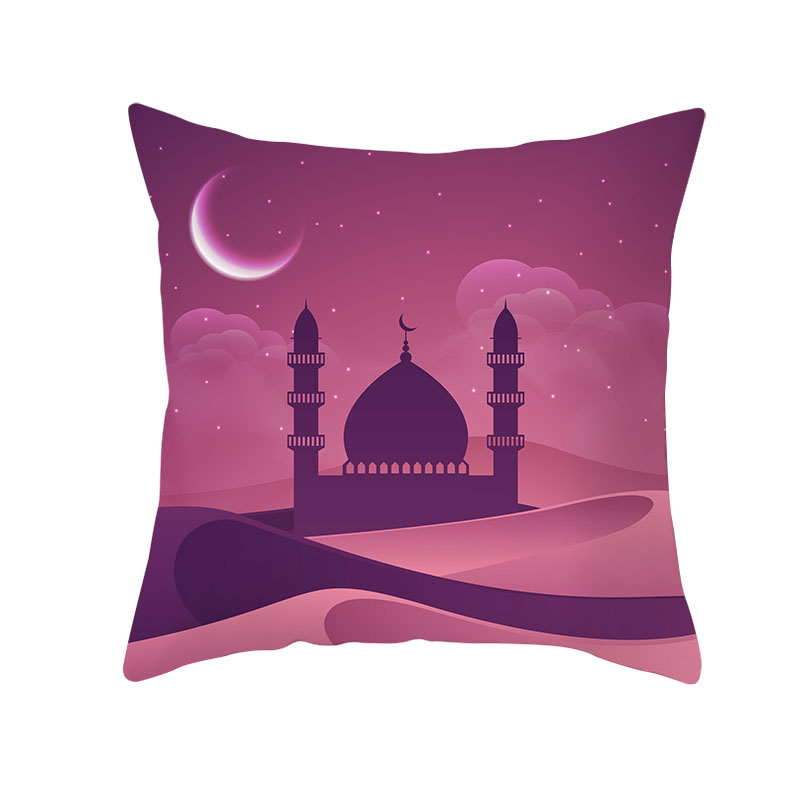 1PC Religious Style Decorative Cushion Cover Islam Eid Al-Fitr Cotton Linen Pillow Cover Muslim Holy Month Cushions Pillowcase