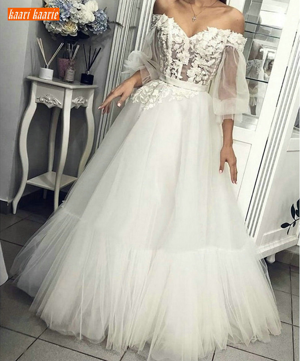 Sumptuous Appliques Lace White Wedding Dresses 3/4 Sleeve Tulle A Line Wedding Gowns Custom Made Off Shoulder Long Bridal Dress