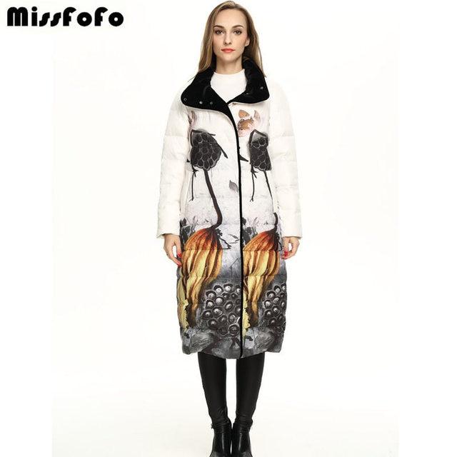 MissFoFo 2018 элегантный чернильный узор Винтаж китайский стиль Верхняя одежда бархатное пуховое пальто женский длинный дизайн модное зимнее пальто S-2XL