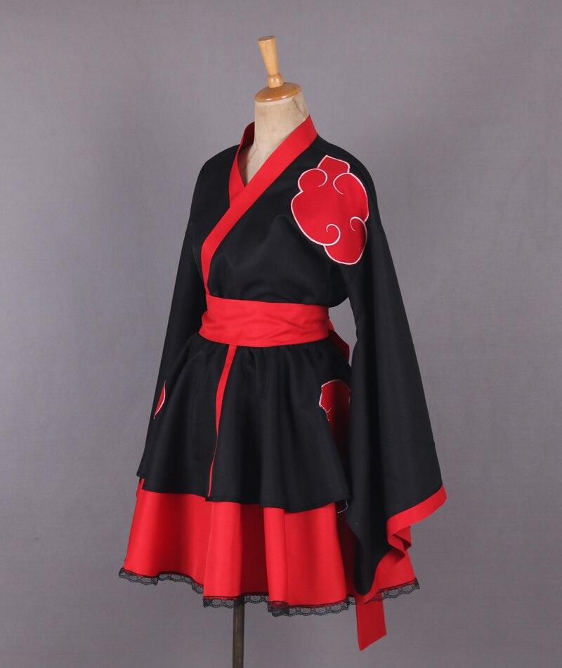 2016 Naruto Shippuden Akatsuki Organisation Weibliche Lolita Kimono Kleid Anime Cosplay Kostüm