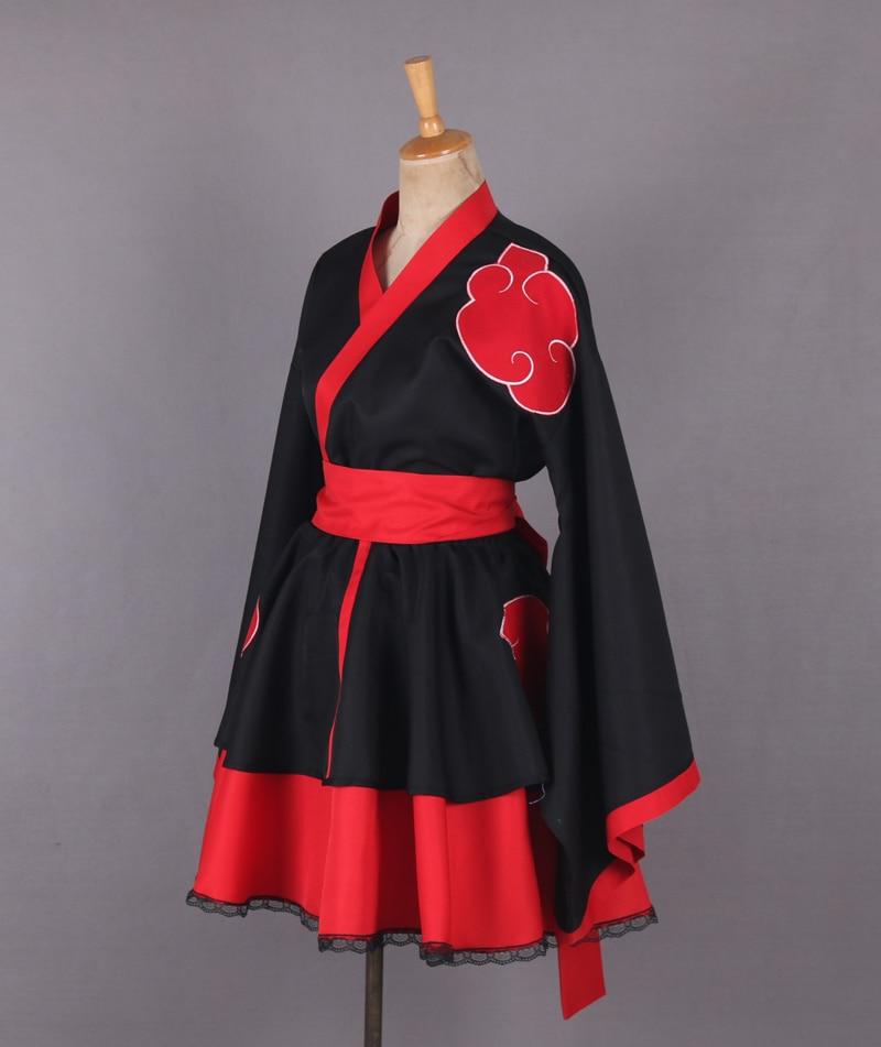 2016 font b Naruto b font Shippuden Akatsuki Organization Female Lolita Kimono Dress Anime font b