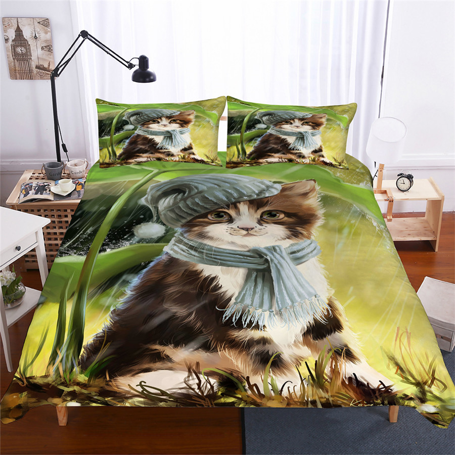 HELENGILI 3D Bedding Set Cat Print Duvet Cover Set Bedcloth with Pillowcase Bed Set Home Textiles #CAT-02HELENGILI 3D Bedding Set Cat Print Duvet Cover Set Bedcloth with Pillowcase Bed Set Home Textiles #CAT-02