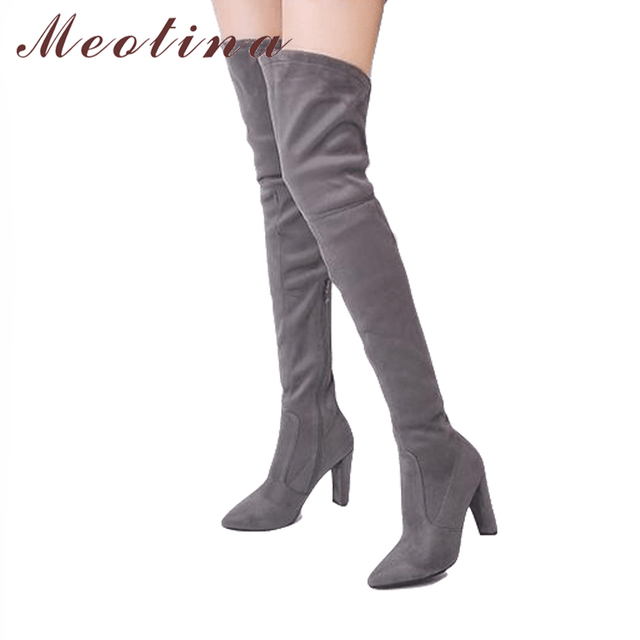 05184b6d8ad Meotina Winter Over the Knee Boots Women High Heels Flock Shoes Sexy  Pointed Toe Female Thigh High Boots 2018 New Big Size 34-43