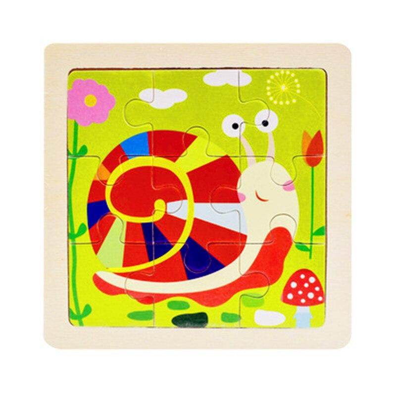 Мини Размер 11*11 см детская игрушка деревянная головоломка деревянная 3D головоломка для детей Детские Мультяшные животные/дорожные Пазлы обучающая игрушка - Цвет: Прозрачный