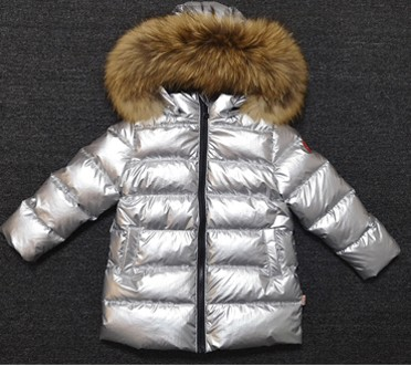 Kids real fur hooded long coat 90 down big collar jacket warm clothes parkas for children baby boy girl Russia winter overcoat