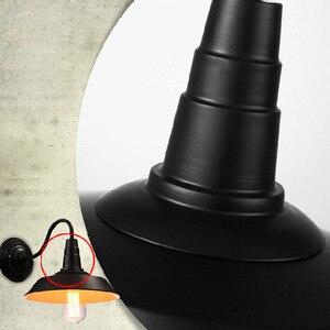 Image 4 - Vintage Lampada Da Parete Ha Condotto La Luce E27 Edison luce Loft Retrò Vernice Ferro Americano Vecchio Stile Semplicità Nero Copertura del Pot con lampada Ombra