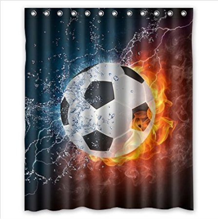 Cool Soccer Ball Fire Water Waterproof Shower Curtain Polyester Fabric 160x180cm Bathing Curtains With Hook Decorations