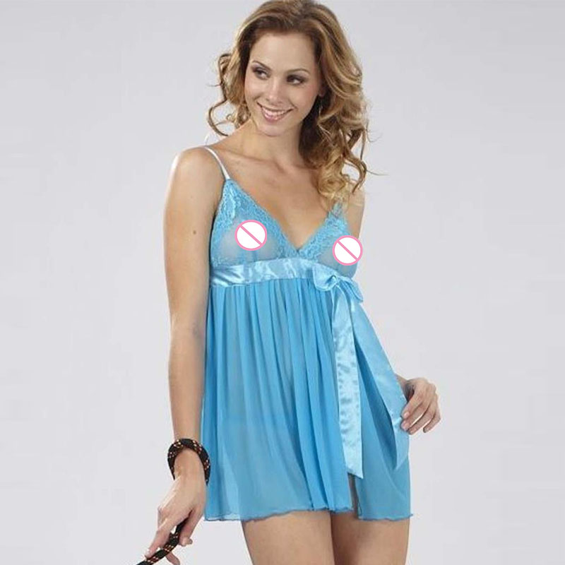 S-L Light Blue Solid  Exotic Apparel Polyester Lace Dresses With Bow Baby Doll Sexy Lingerie Er Tica Sleepwear W850875