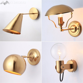 Nordic Post modern wall lamp golden glass ball wall lights for living room bedroom bedside study aisle hotel lighting fixtures