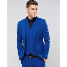 HB036 Custom Made Blue Men's Wedding Prom Suits 3 Pieces Best Man Bridegroom Tuxedos Two Button Blazer Handsome Dinner Costumes