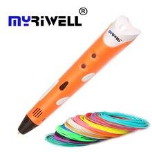 Myriwell 3D печати pen1.75mm ABS Smart 3D рисунок пером + бесплатная нити + адаптер творческий подарок для детей Дизайн живопись высококачественным