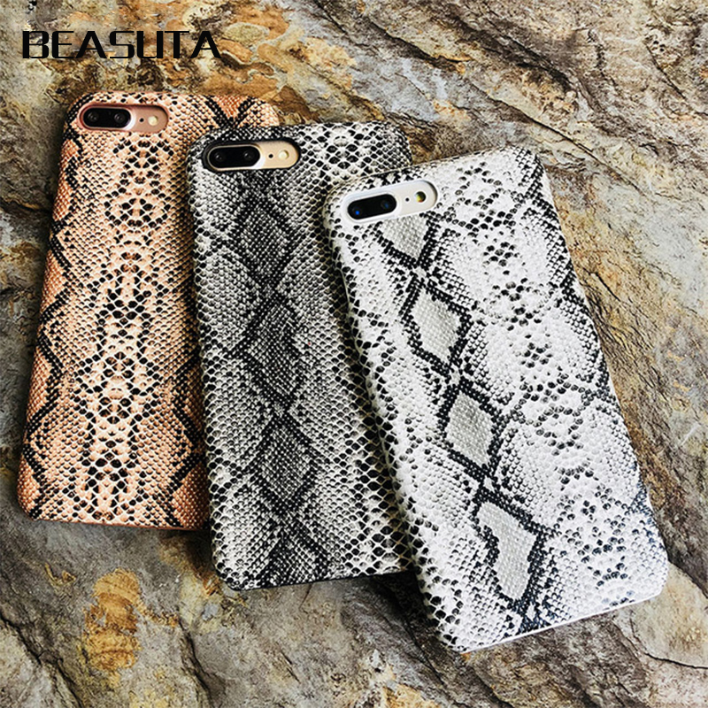 Snake Skin Phone Case For iPhone 8 7 6s Plus Case Hard PC Phone Case For iPhone 6 6 S Plus X XS MAX coque Cover Fundas(China)