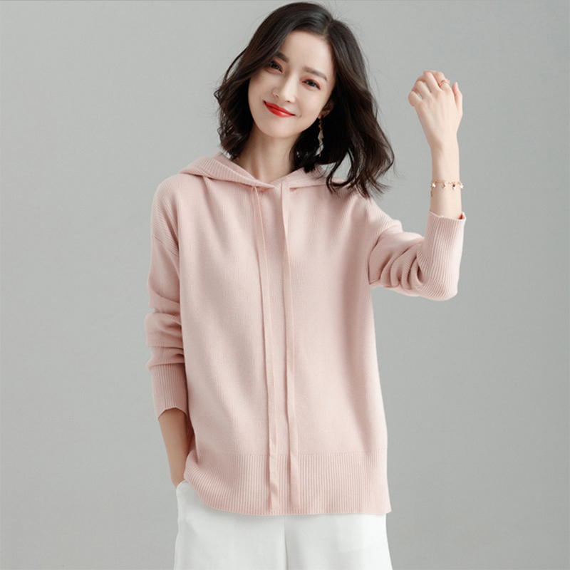 Hoodies Women Sweatshirts Viscose Blended Knitted O Neck Drop-shoulder Long Sleeves Casual Loose Top New Fashion Style 2019