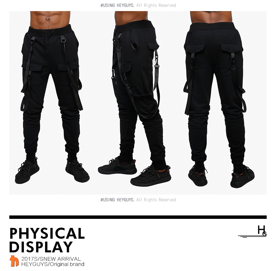 HEYGUYS 2019 fashion fitness Pant Men pants sweatpants Trousers Fashion Bottoms street wear hip hop pencil pants with belt 47