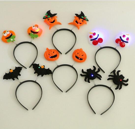LED Light Up Hairband Headband Pumpkin Spider Bat Skull Flashing Party Xmas Gift Halloween Decoration YH216