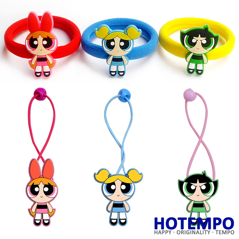HOTEMPO Blossom Bubbles Buttercup Action Figure Powerpuff Girls Cartoon TV Figure Toys Kid Hair Band Figure Hair Ring