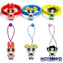 HOTEMPO Blossom Bubbles Buttercup Action Figure Powerpuff Girls Cartoon TV Figure Toys Kid Hair Band Figure Hair Ring