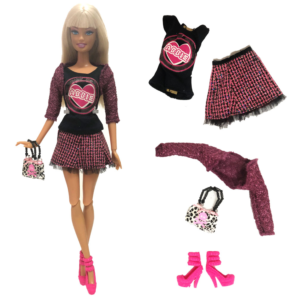 NK One Set Doll Dress Fashion Model Coat Modern Outfit Daily Wear Bag Shoes For Barbie Doll Accessories Gift Baby Toys  242A DZNK One Set Doll Dress Fashion Model Coat Modern Outfit Daily Wear Bag Shoes For Barbie Doll Accessories Gift Baby Toys  242A DZ