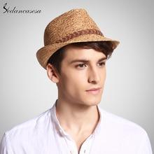 Sedancasesa ฟาง Raffia Fedora หมวกคลาสสิกชายฤดูร้อน Beach Trilby Sun หมวกสำหรับผู้ชายผู้หญิง UV Protection ฟางหมวก Unisex cool