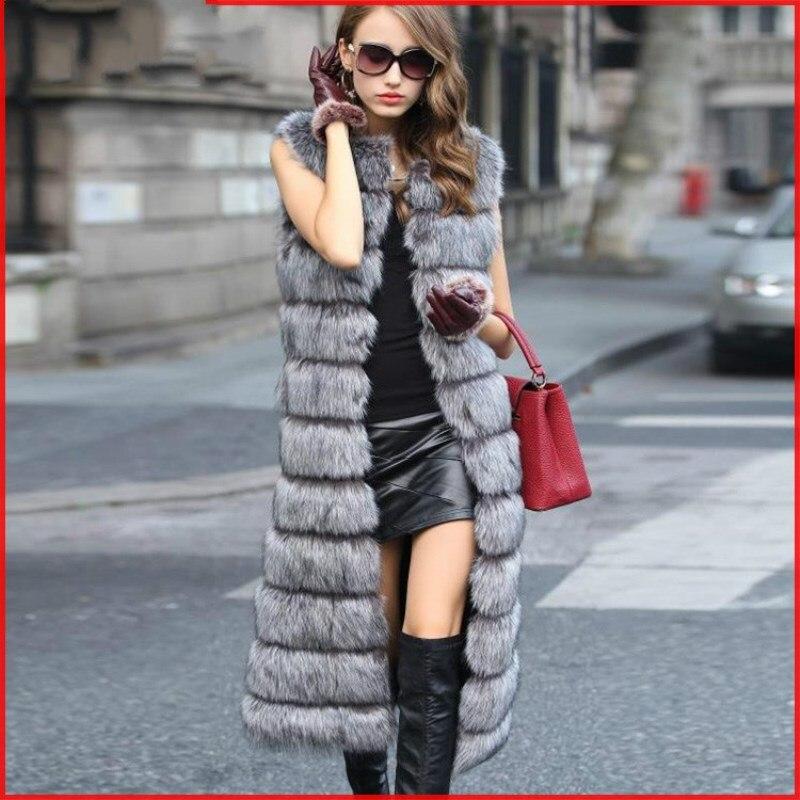 Femelle Maxi 2018 noir rose D'hiver De Manteau Argent Mince Renard blanc Imitation Manches Fourrure Sans Nouveau Gilet Longue Mode ivoire xw0r0XRqS
