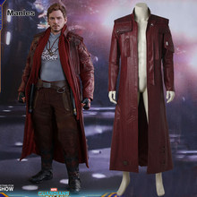 Guardians of The Galaxy 2 Cosplay Costume Star-Lord Jacket Peter Jason Quill Long Jacket Adult Men Red Jacket Halloween Costume(China)