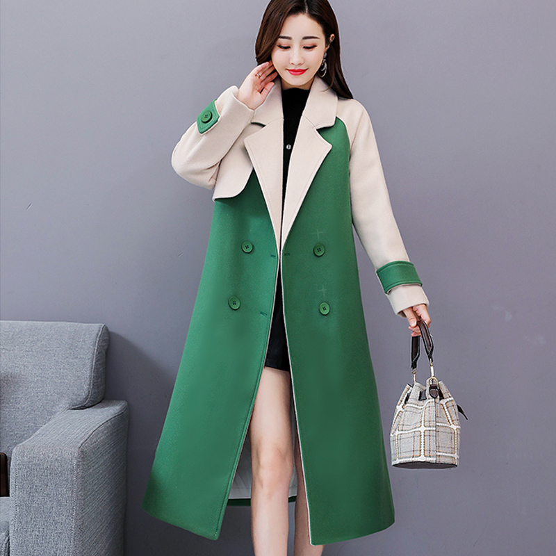 New Woman Woolen Jacket Slim Elegant Trend Double Breasted Parker Slim Warm Long-sleeved Coat Jacket Autumn Winter Outerwear