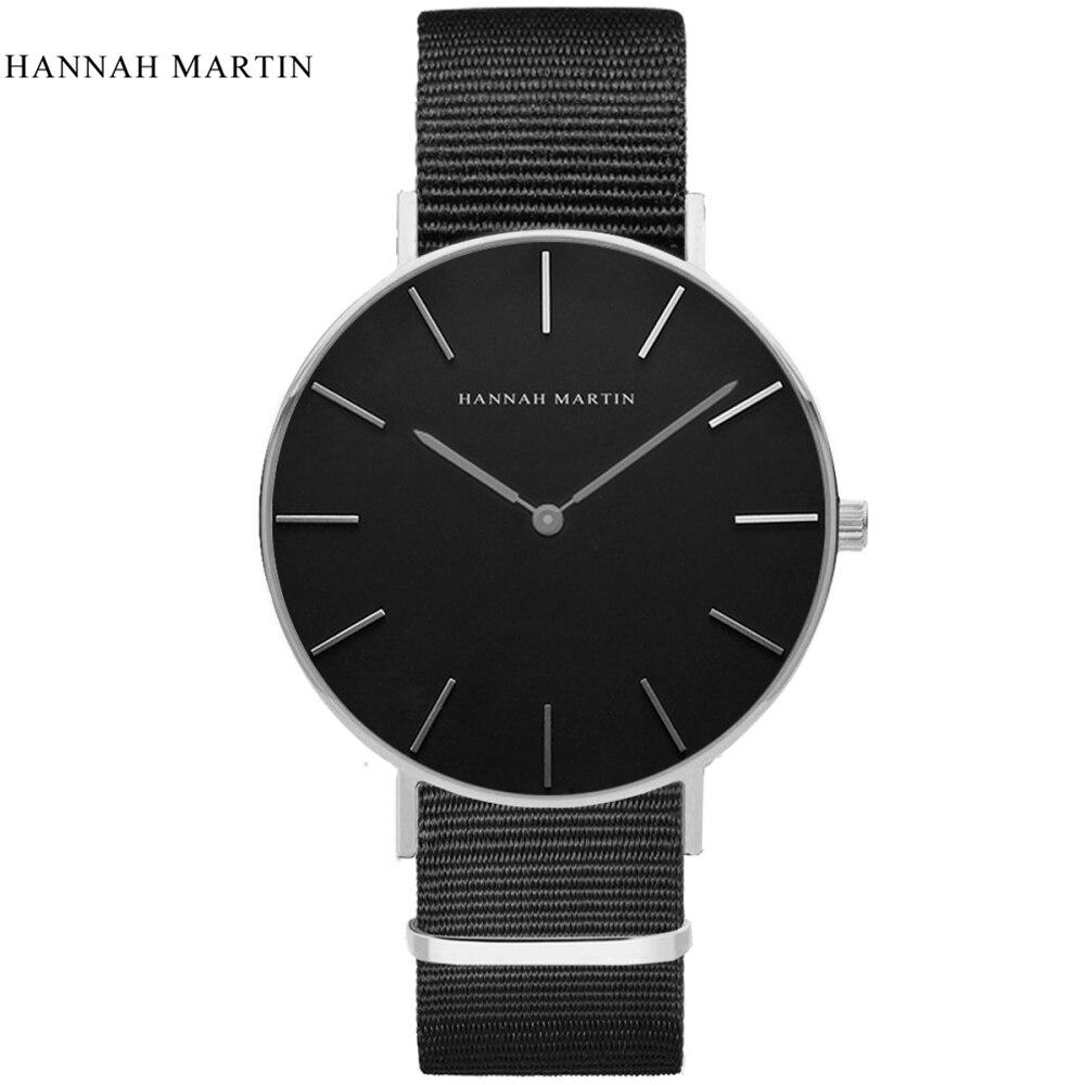 Relógios para Mulheres dos Homens Relógio de Pulso Hannah Martin Marca Relógio Esporte Casual Clássico Náilon Masculino Quartzo Feminino 2020