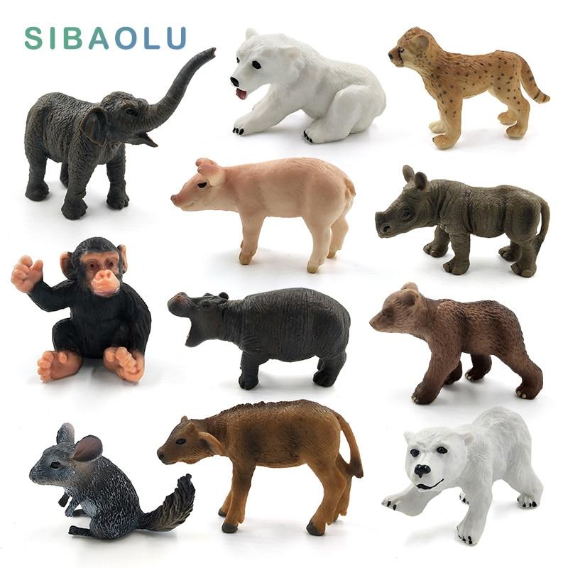 Mini Elephant Pig Chinchilla Mouse Chimpanzee Polar bear cow Animal model figurine home decor miniature decoration accessories