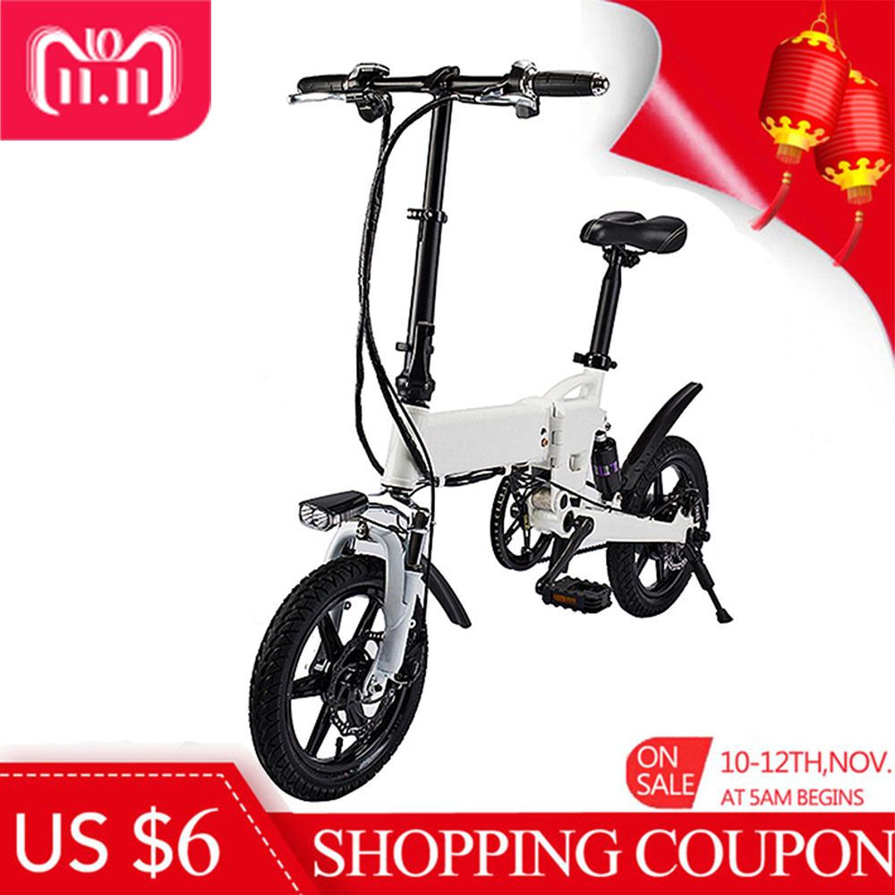 Smart Folding Electric Bike 14 Inch Inflatable Rubber Tire Double Disc Brakes 5.2Ah Battery EU Plug Electric BicycleSmart Folding Electric Bike 14 Inch Inflatable Rubber Tire Double Disc Brakes 5.2Ah Battery EU Plug Electric Bicycle