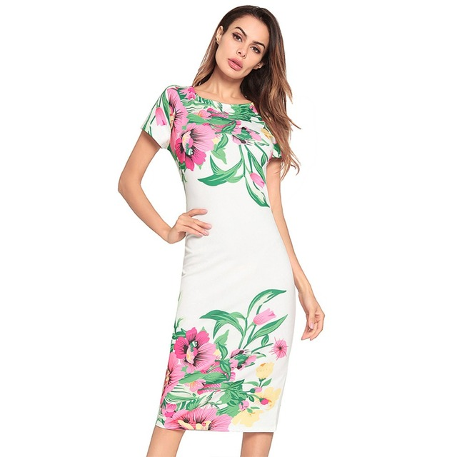 c12f99d4f5 2019 spring and summer new women's sexy casual fashion home office vacation  beach step printing tights hip dress