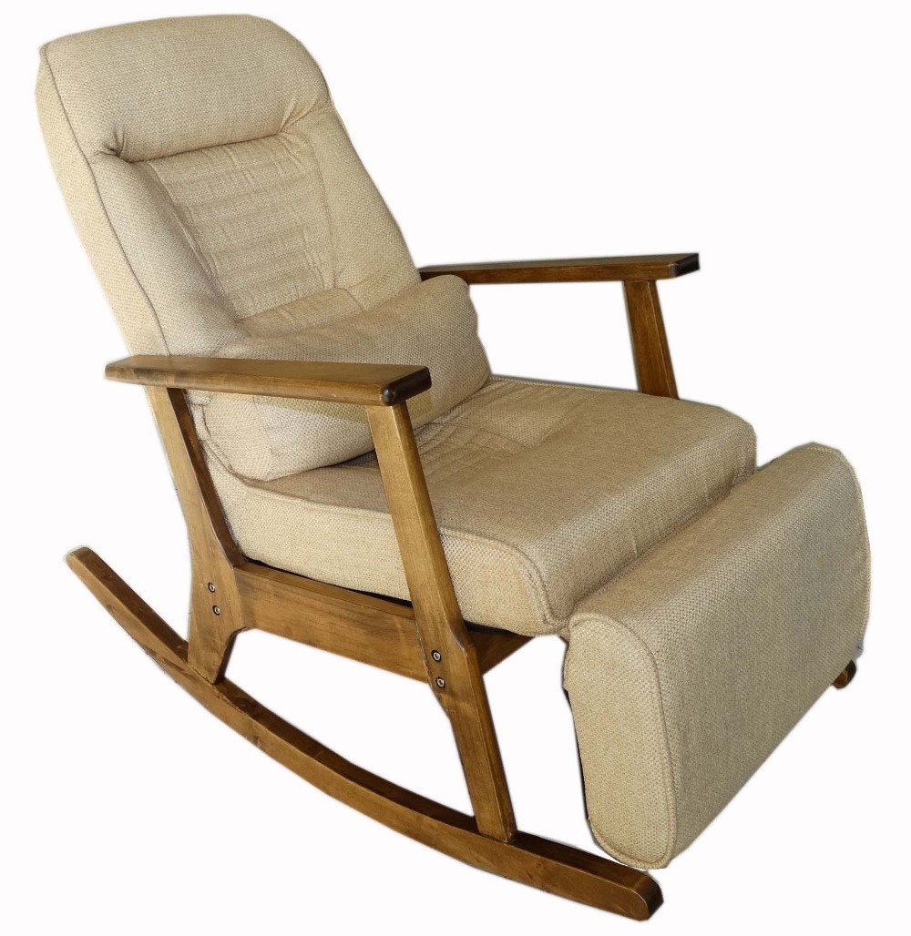 Easy chair recliner - Vintage Furniture Modern Wood Rocking Chair For Aged People Japanese Style Recliner Easy Chair With Armrest Pulletout Footstool In Garden Chairs From