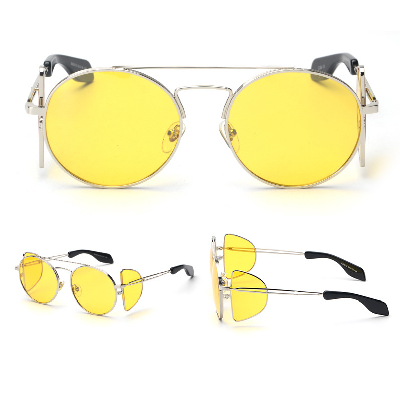 gafas de sol yellow lens silver metal frame steampunk outdoor women sunglasses accessories 1 glasses box1