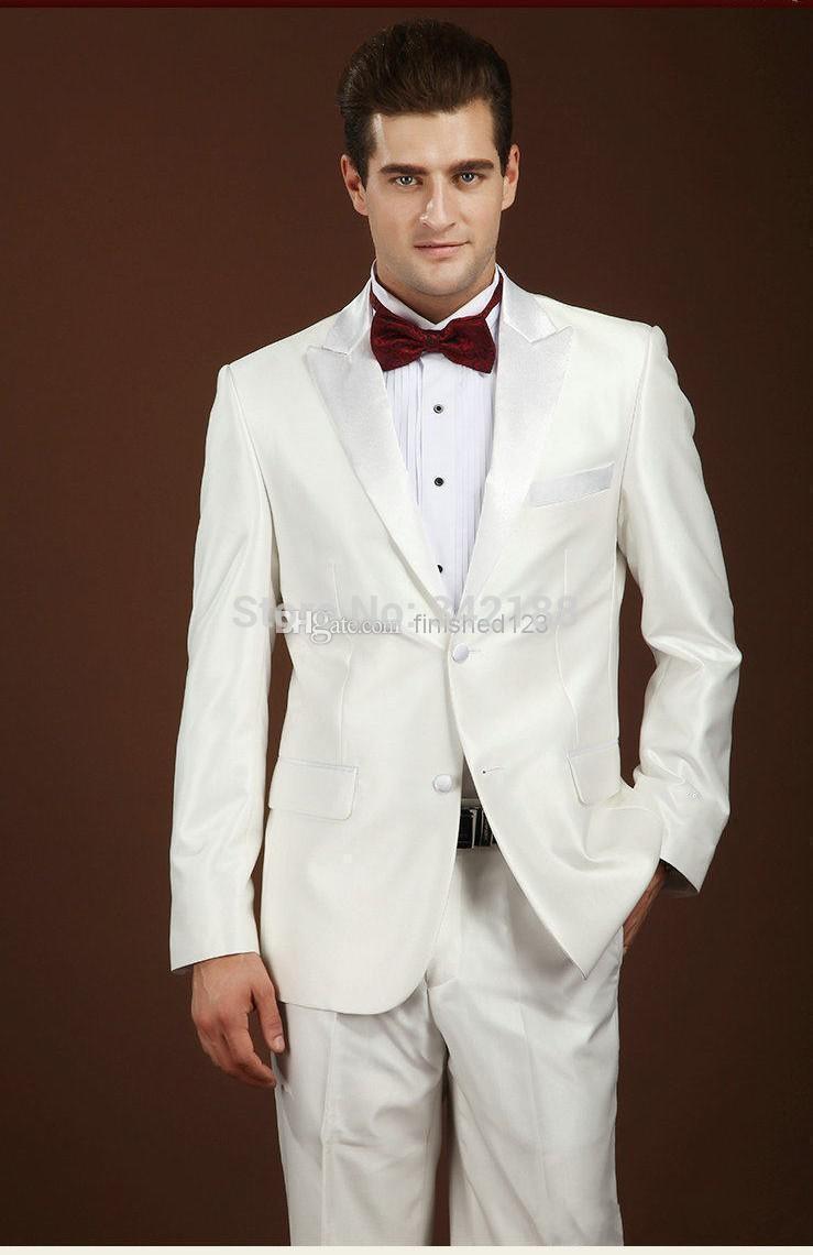 Discount! Personnalisée Slim Fit retour Vent deux boutons d'ivoire Groom Tuxedos / revers en pointe Best Man garçons d'honneur hommes costumes de mariage / meilleur suitswe