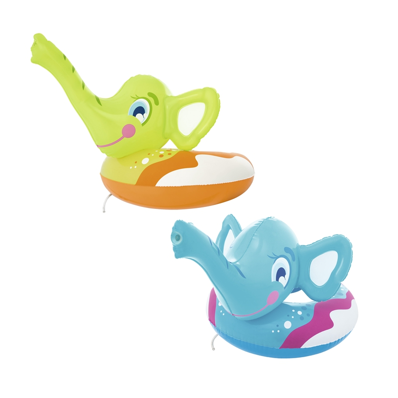 Inflatable Kids Elephant Spray Ring Swim Rings With Hand Pump Swimming Pool Float Water Toys Fun Raft Boia Piscina