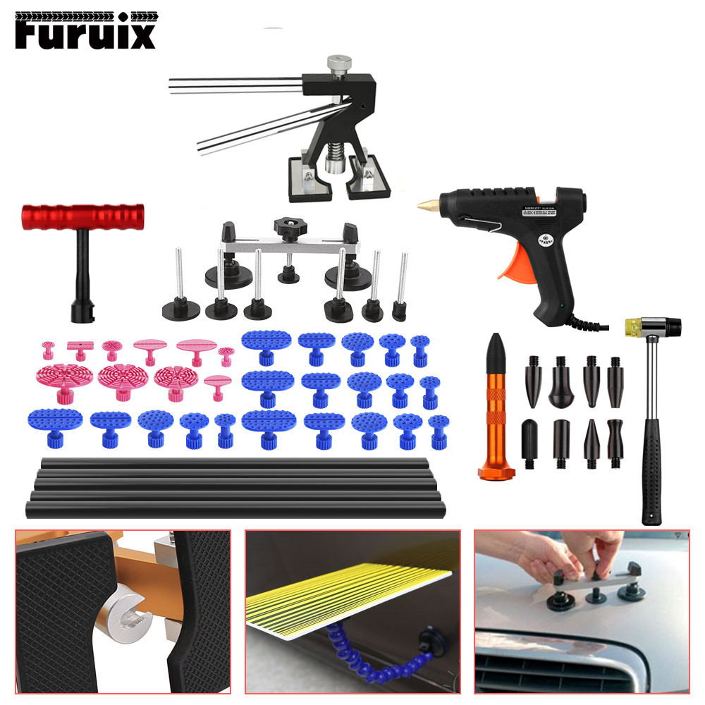 Paintless Dent Repair Tool PDR Kit Dent lifter Glue gun Line Board Slide hammer Dent Puller Glue Tabs Suction Cup PDR Tool pdr rods kit with slider hammer dent lifter bridge puller set led line board glue stricks pro pulling tabs kit for pop a dent