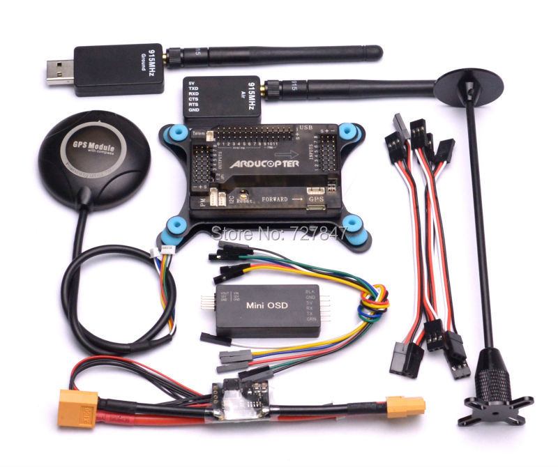 APM2.6 w/ Shock Absorber+ NEO7M GPS Compass + Power Module + Minim OSD + 915Mhz 915 Telemetry high quality micro minimosd minim osd
