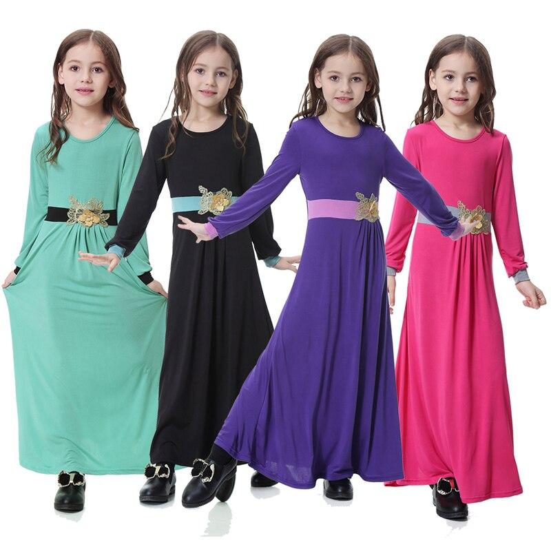 Vestidos 2019 Abaya Dubai Arab Kaftan Turkey Children Muslim Hijab Dress Girl Moslima Islamic Arabic Dress Robe Musulmane Longue