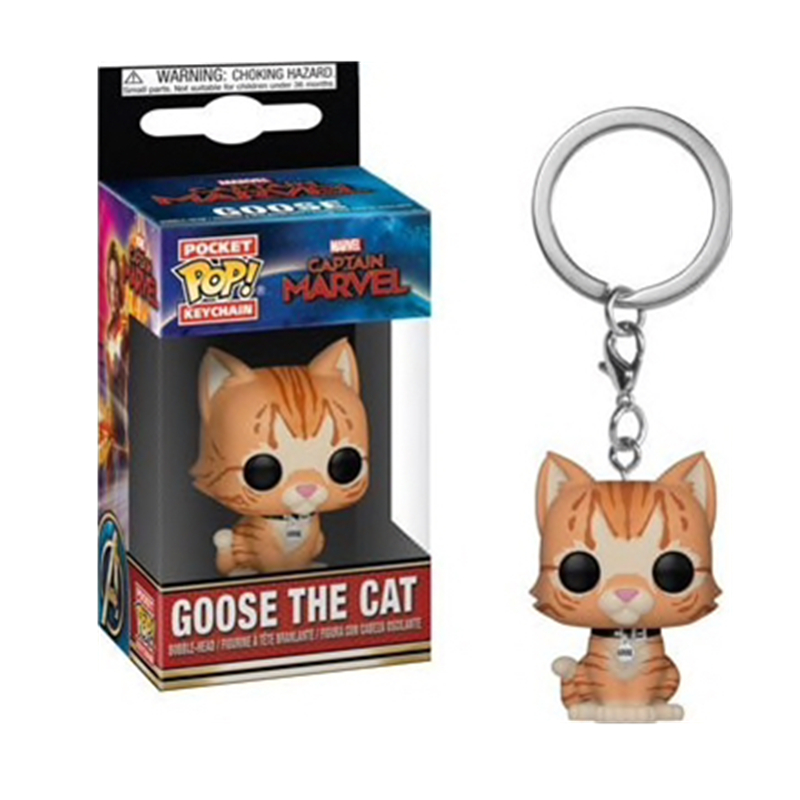 FUNKO POP Captain Marvel Goose The Cat Pocket Pop Keychain The Avengers Movie Characters Action Figure Collectible Model Toys