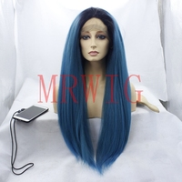 MRWIG long light yaki straight front lace wig 1b# ombre mixed blue glueless free part 360g 150% swiss lace 26inch real hair wig