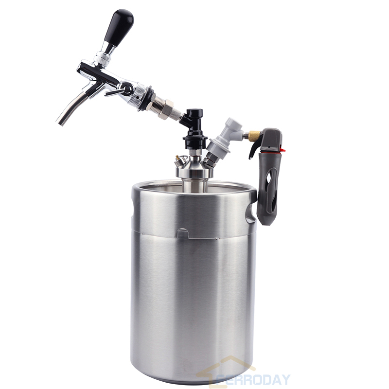 Homebrew 5L Mini Keg Beer Growler Spears with Tap Faucet CO2 Injector Premium 304 Stainless Steel Bar Set Wine Pot New Type image