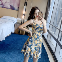 Print Leave Korean Dress Summer 2019 Women Backless Corset Ruffles Chiffon Dress Women Spaghetti Strap Sexy Party Dresses Ladies